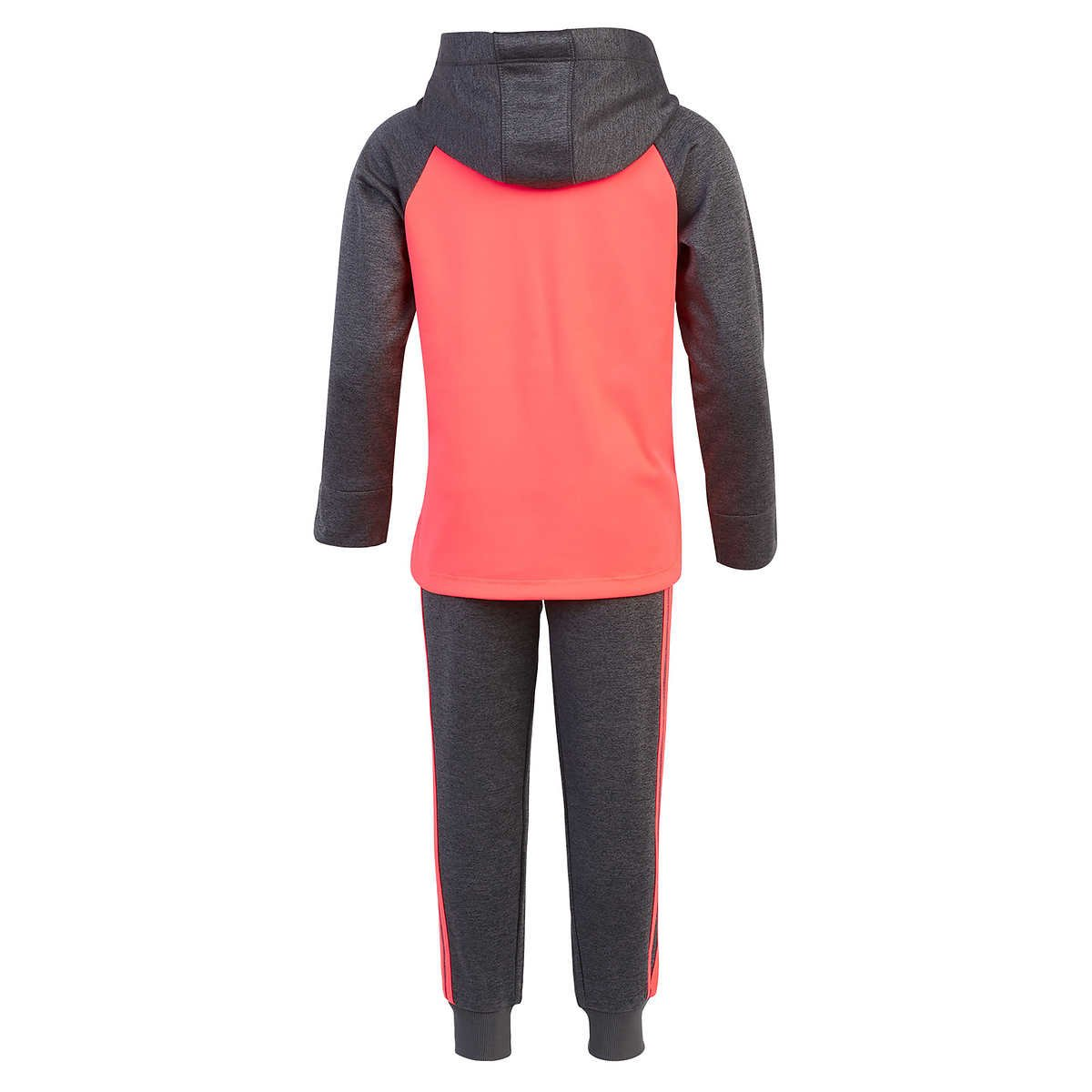 adidas Girls' Tricot Hoodie Jacket and Pant Set (4T, Heather Gray/Neon Pink) by adidas (Image #2)