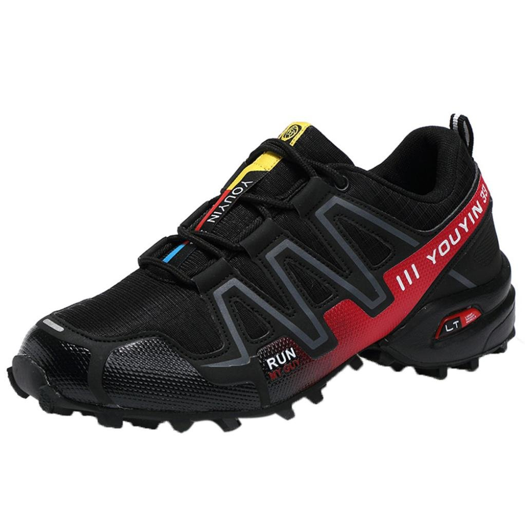 SUKEQ Men's Hiking Shoes, Lace Up Outdoor Hiking Boots Low Top Sport Running Sneakers for Boys (6.5 D(M) US, Black)