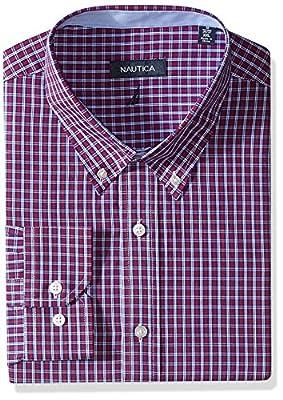 """Nautica Men's Tartan Dress Shirt-Button Down, Red/Navy, 18"""" x 36/37"""