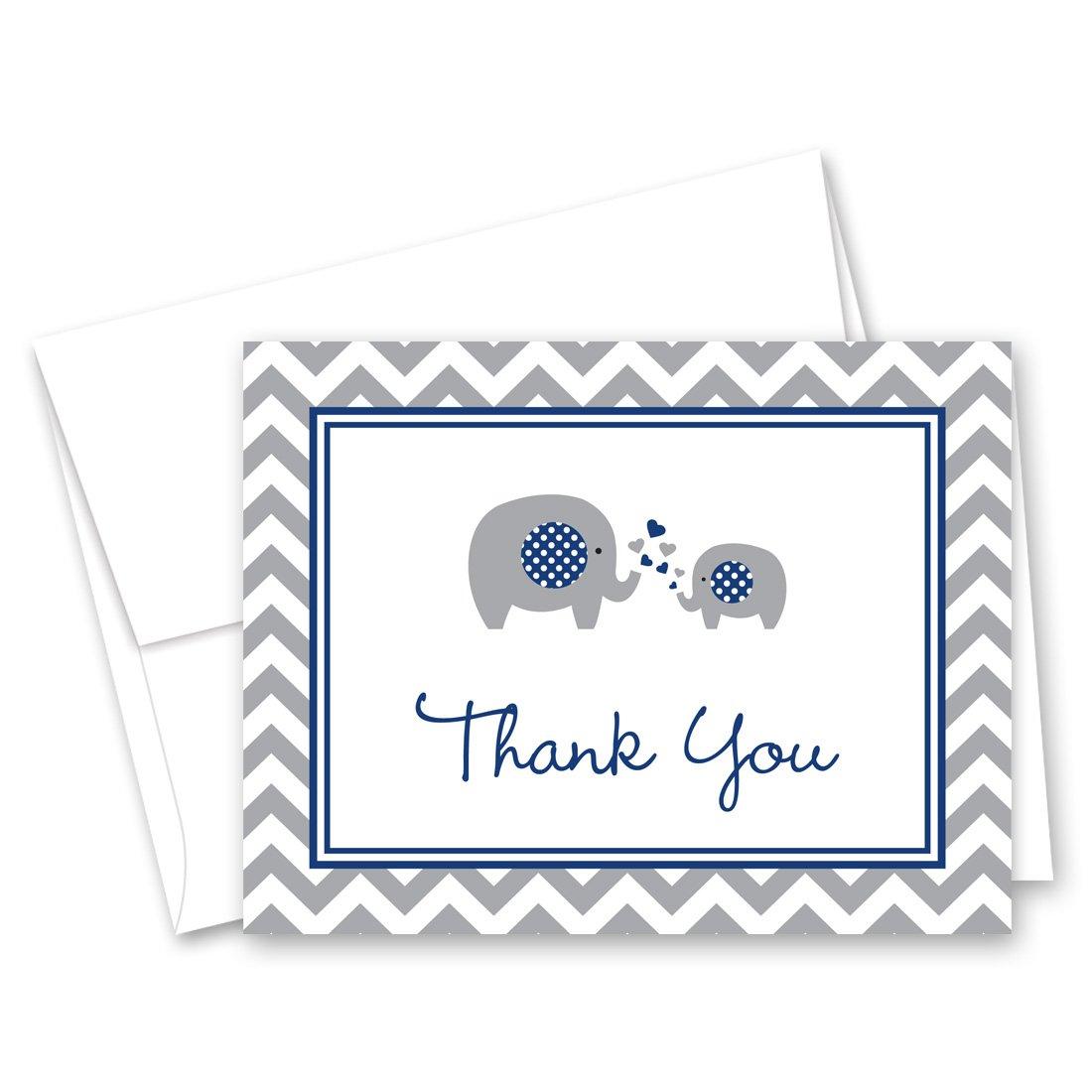 50 Cnt Navy Chevron Elephant Baby Thank You Cards