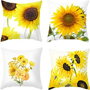 DACRIS Throw Pillow Covers for Couch 18x18 Inch 4 PCS Sunflower Decor Pillow Case Velvet Throw Couch Case for Room Bedroom Room Sofa Chair Car Decorations Sunflower Gifts(Sunflower & Sunshine, 18x18)