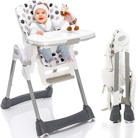 Hochstuhl/Kinderhochstuhl/Babyhochstuhl (8-Fach höhenverstellbar/klappbar/mit Liegefunktion) PREMIUMQUALITÄT (Tupfen)