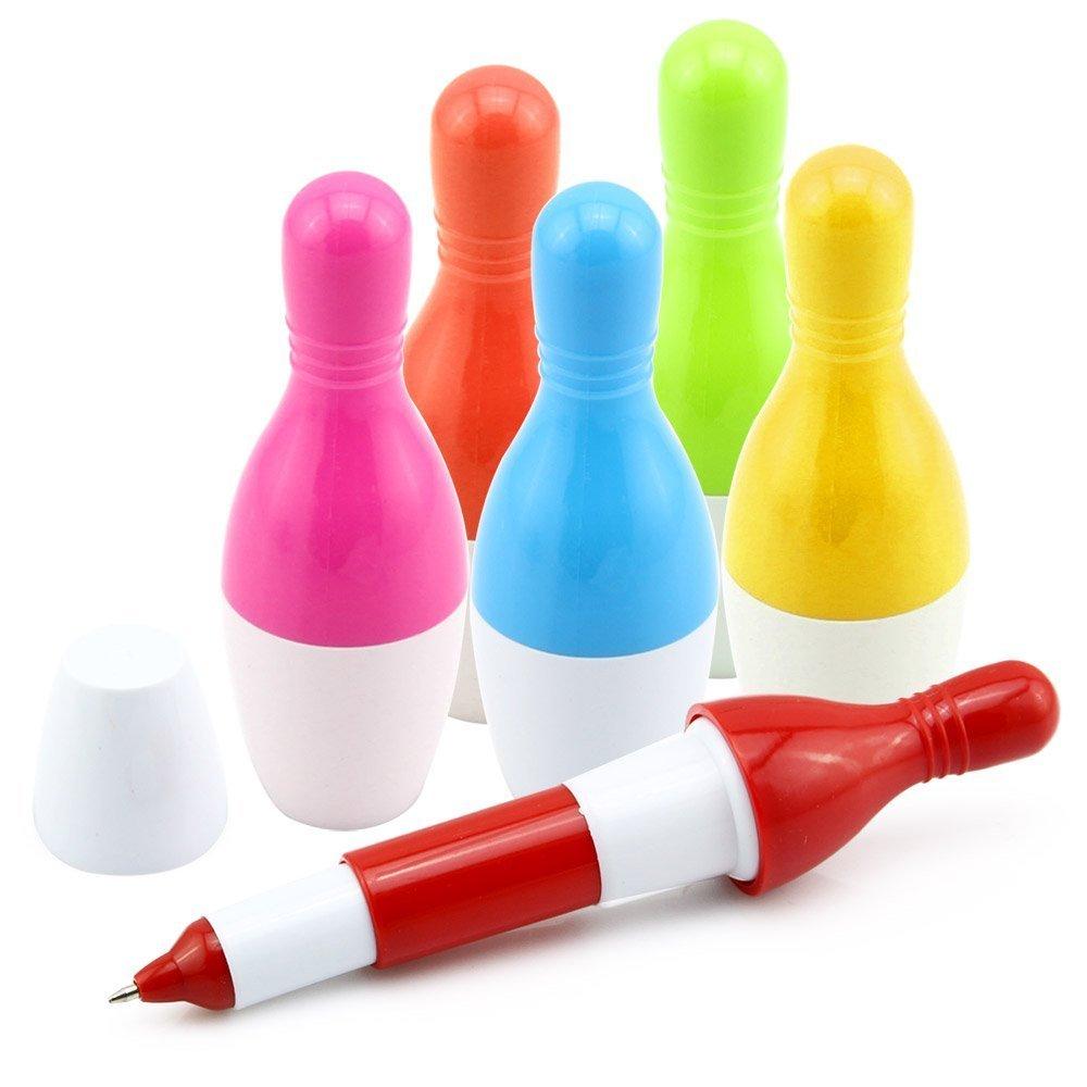 Shulaner Bowling Style Penne a Sfera Cute Mini Penna a Sfera Retrattile Telescopico Bowling Penna Creativo Novit/à Regalo per Studenti Bambini 0.5 mm Confezione da 24 Inchiostro blu