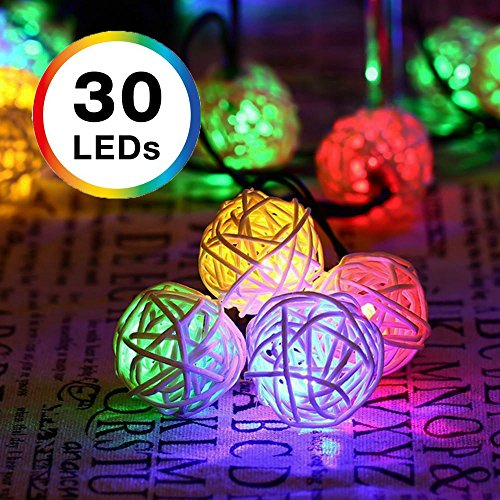 Rattan String Lights, DecorNova 19.7 Feet 30 LED Battery Powered Ball String Lights with Waterproof 3 AA Battery Case & 2 Lighting Modes for Bedroom Camping Christmas Mantel Tree Party, Multi Color (Mantel Christmas)