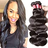 ALI JULIA Hair Brazilian Virgin Hair Body Wave 3 Bundles,Grade 6A 100% Unprocessed Virgin Brazilian Wavy Human Hair Weave Extensions 95-100g/pc (12 14 16 inch, natural black color)