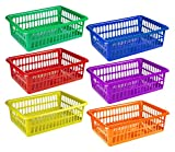 Zilpoo 6 Pack - Plastic Colorful Storage Baskets, Paper, Toys, Teacher Classroom, Collage Student Dorm Room Organization Bins, 15'' x 10'', Assorted Colored