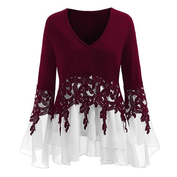 Moda mujeres Casual aplica Flowy muselina v-cou de manga larga blusa Tops aplica alto