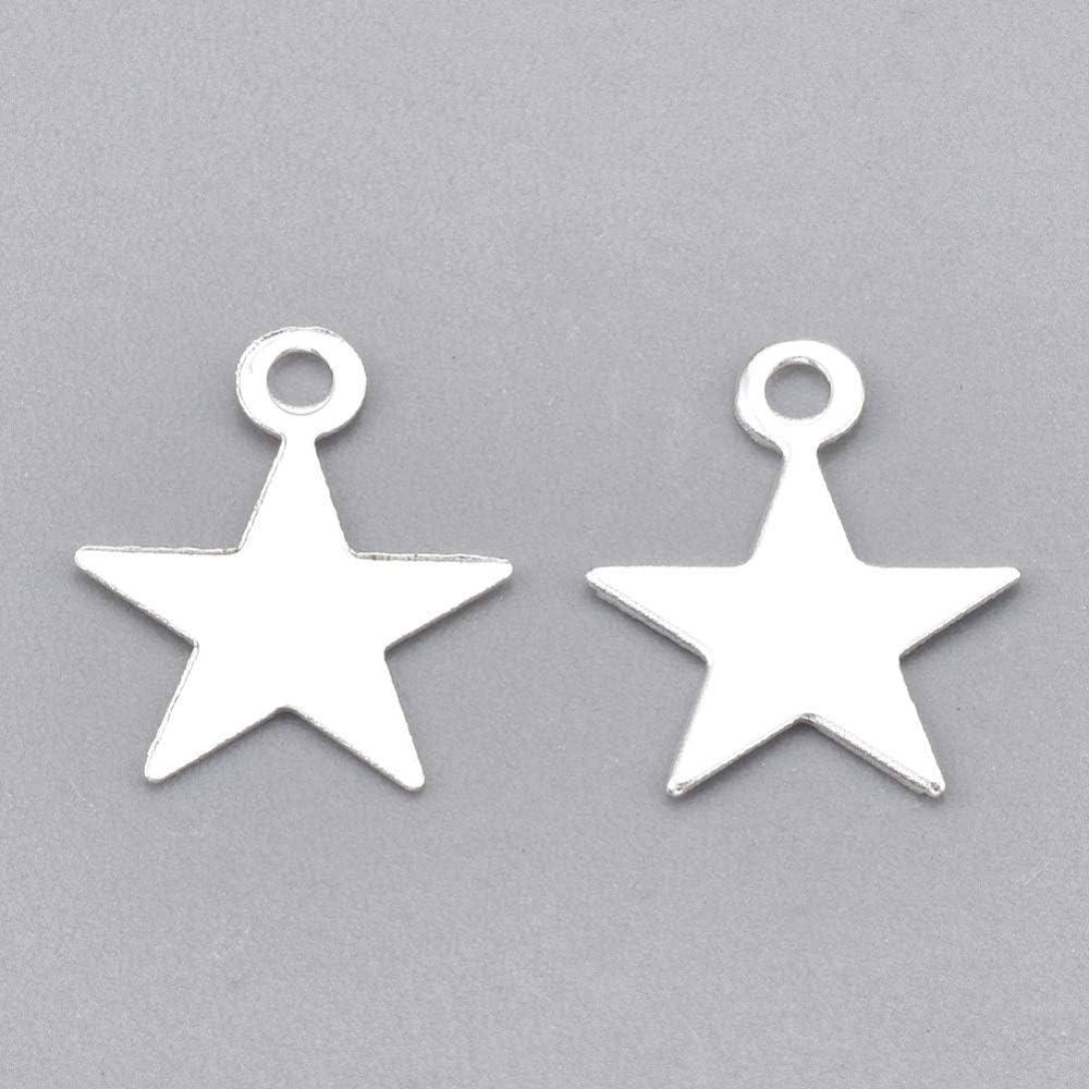 Perlin - Juego de 100 colgantes de metal para manualidades, diseño de estrella, color plateado