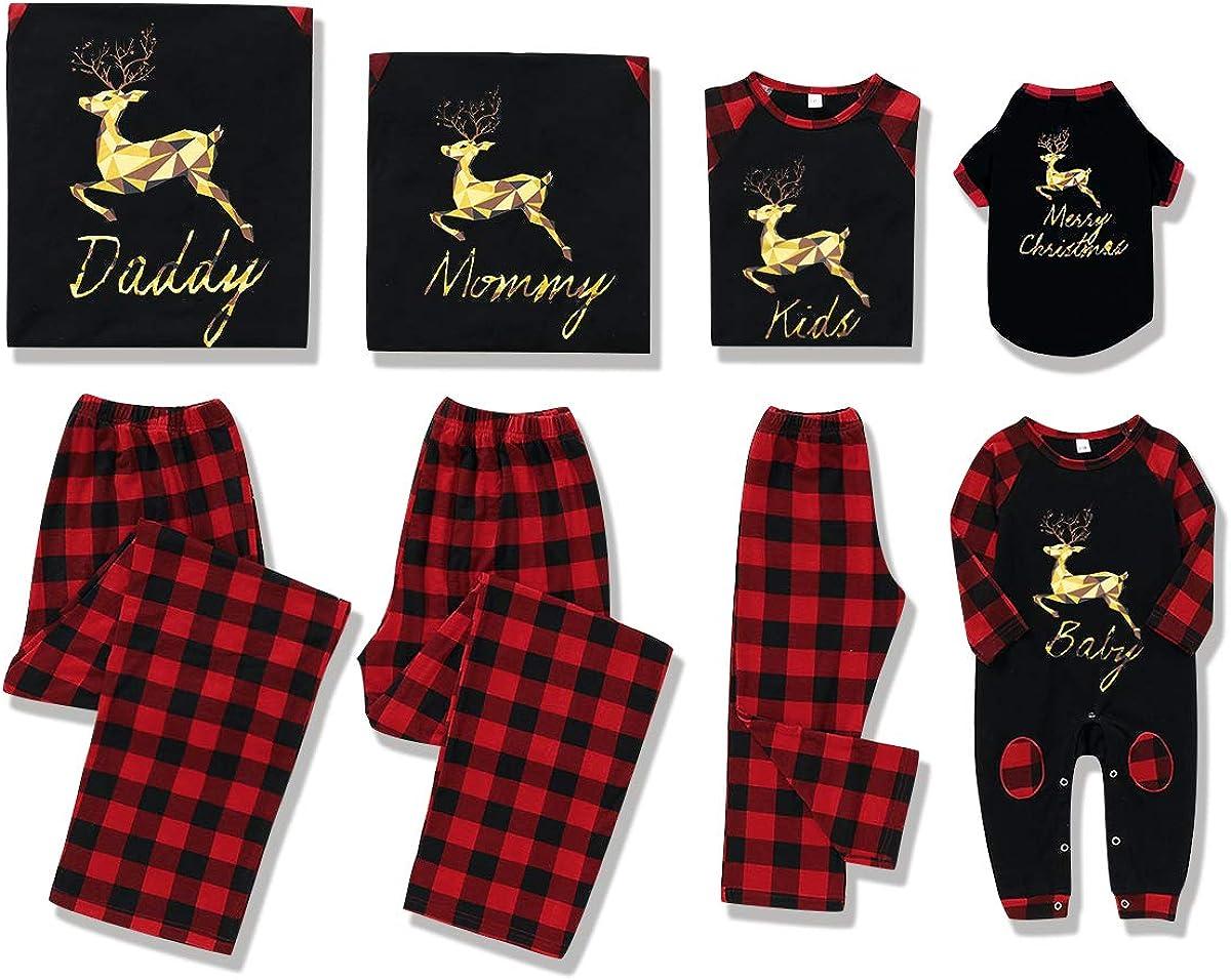 Rehomy Christmas Family - Conjunto de Pijamas a Juego clásico a Cuadros, Pantalones o Mameluco de bebé, Ropa de Dormir de Navidad, para bebés, niños, Adultos, Mascotas