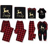 DERCLIVE - Conjunto de ropa de Navidad a juego de pijama