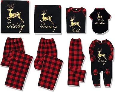 Rehomy Christmas Family - Conjunto de Pijamas a Juego clásico a Cuadros, Pantalones o Mameluco de bebé, Ropa de Dormir de Navidad, para bebés, niños, ...