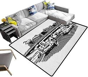 Soft Bedroom Rugs Retro, Soft Indoor Large Modern Area Rugs Nostalgic Illustration of Retro Diner Restaurant with Vintage Cars Back in Fifties Entrance Door Rug Shoes Scraper Black White, 4 x 4 Feet