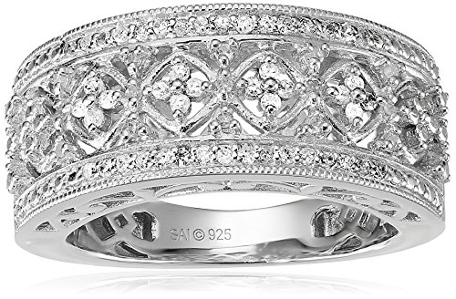 Sterling Silver Diamond Lattice Ring (1/4 cttw), Size 7 by Amazon Collection