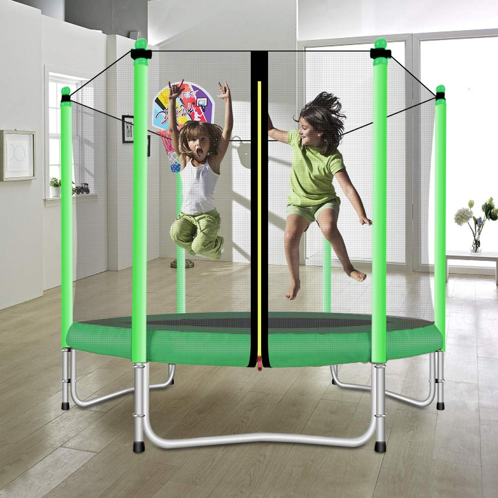 Lovely Snail Trampoline with Basketball Hoop-Trampoline for Kids-Green-5 Feet by Lovely Snail (Image #3)