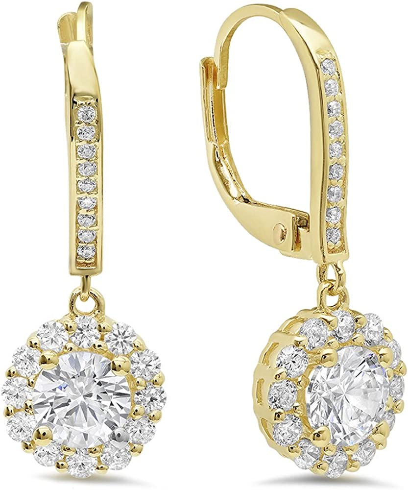 3.45 ct Round Cut Simulated Diamond Drop Dangle Earrings Solid 10K Yellow Gold
