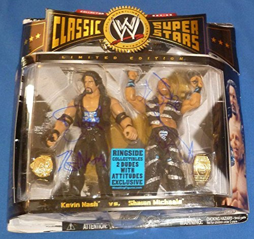 (Shawn Michaels & Kevin Nash Diesel Signed WWE Classic Action Figure COA - PSA/DNA Certified - Autographed Wrestling Cards)