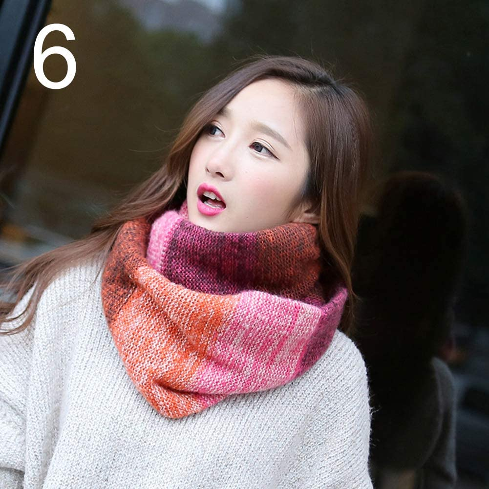 Lightweight And Durable,Winter Fall Fashion Women Colorful Woolen Yarn Knitted Warm Scarf Neckerchief Infgreate Warm