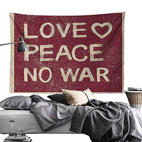 (Hall Tapestry 1960s Decorations Collection Love Peace No War Text Pacifist Rusty Line Political Hippie Groovy Artistic Design Bedroom Home Decor W70 x L59 Burgundy)