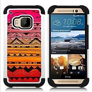 - abstract ink art black colorful sunset pink/ H??brido 3in1 Deluxe Impreso duro Soft Alto Impacto caja de la armadura Defender - SHIMIN CAO - For HTC ONE M9