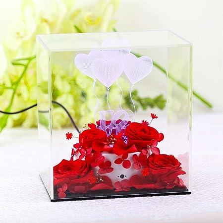Rosas de Flores preservadas Hechas a Mano con Luces LED, con ...