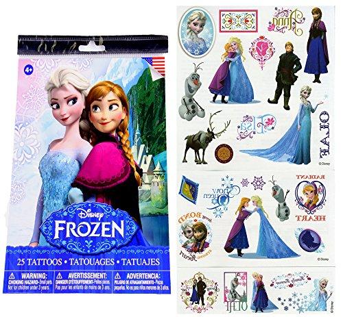 Disney Kids Temporary 25 Piece Tatoos Princess Anna Queen Elsa Olaf Kristoff and Sven (One Size, 1 Pck)