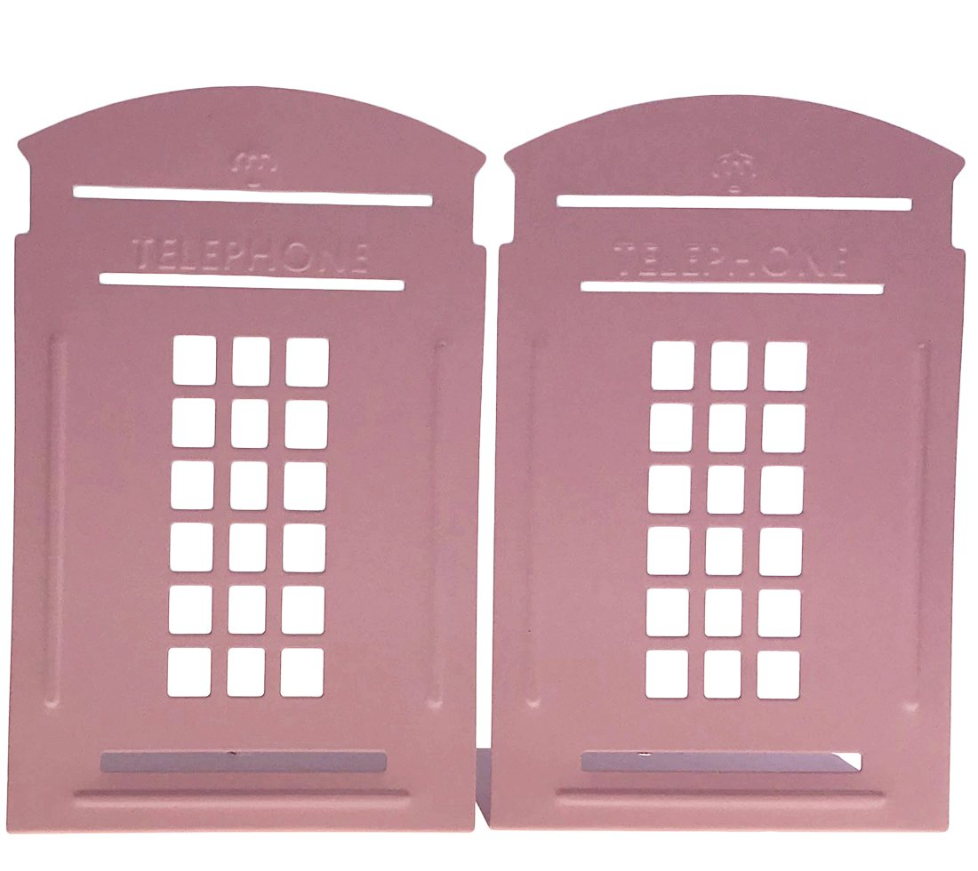 Arsdoll Vintage Fashion British Style London Telephone Booth Heavy Duty Nonskid Iron Metal Bookend Decorative Book Holder Organizer For Office School Library Home Study Decoration Gift (Pink)