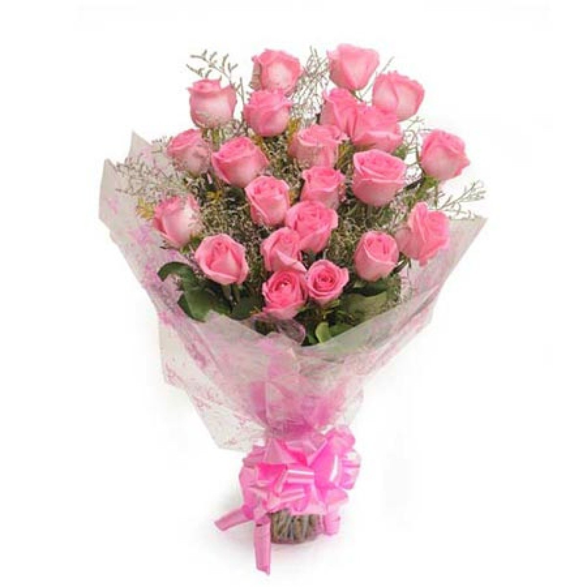 Floralbay Pink Roses Bouquet Fresh Flowers In Cellophane Wrapping