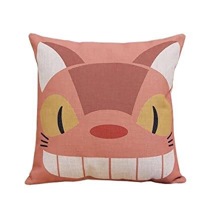 ME COO 2016 Vintage Cartoon Blend Decoration Pillow Case Cute Cartoon Totoro cat Cushion Home Sitting Room Office Zipper Decorative Throw Pillows ...