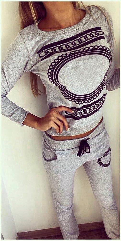 Baymate Donna 2 Pezzi Stampato Tuta da Ginnastica Jogging Sportiva Pullover Felpa Top e Pantaloni