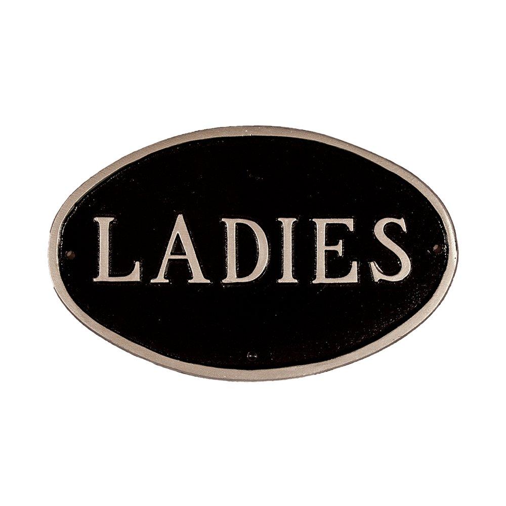 モンタギュー金属製品化粧室Ladies Plaque、7.5 by 4.5-inch、ブラック/シルバー B00J1XH01E