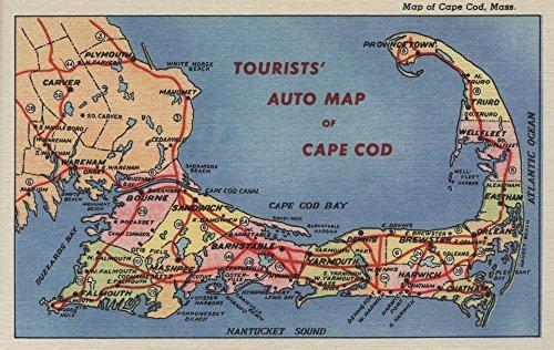 - Cape Cod, Massachusetts - Tourists' Auto Map of Cape Cod - Vintage Map (9x12 Art Print, Wall Decor Travel Poster)