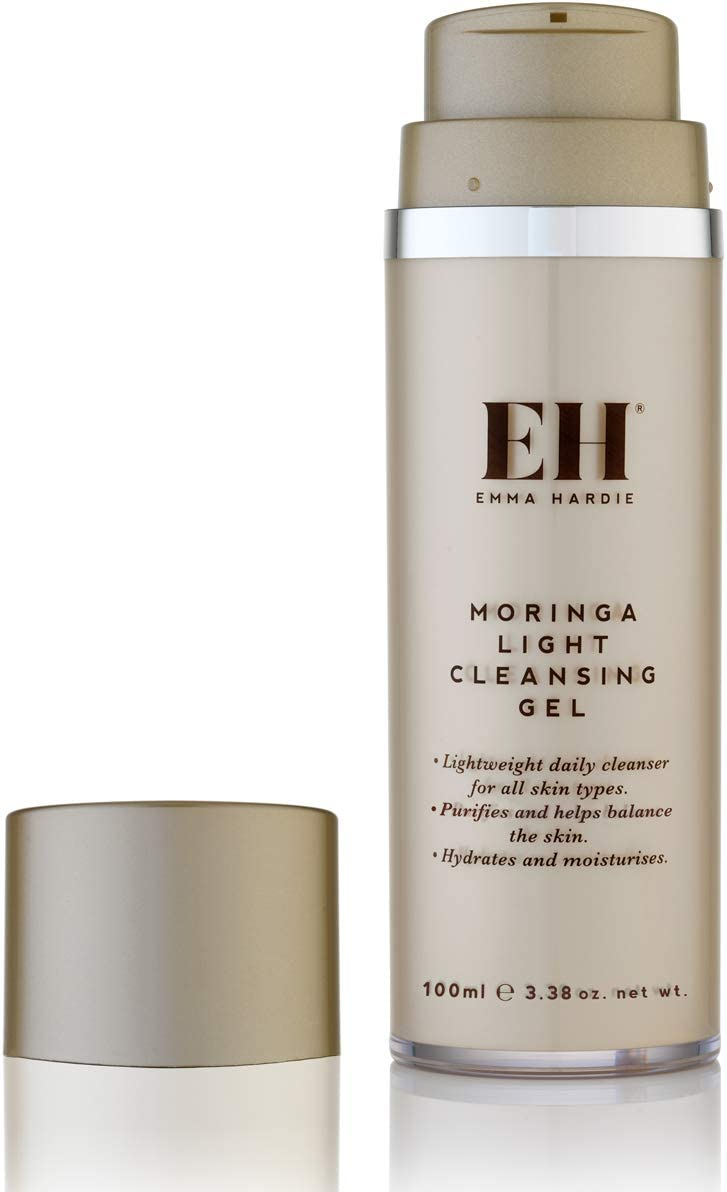 Emma Hardie Moringa Cleansing Gel – Cruelty Free Hydrating and Moisturizing Vegetarian Lightweight Daily Makeup Cleanser for All Skin Types – Helps Purify and Balance Oily Skin – 100mL
