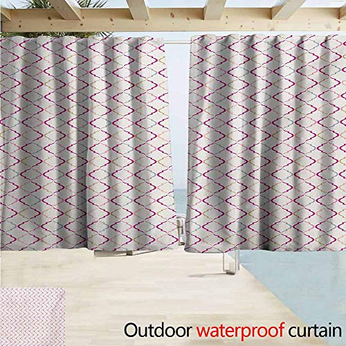 AndyTours Rod Pocket Top Blackout Curtains/Drapes,Trellis Victorian Ancient Oval Shapes Retro Antique Traditional Vintage Style Pattern Print,Outdoor Privacy Porch Curtains,W55x45L Inches,Multicolor ()