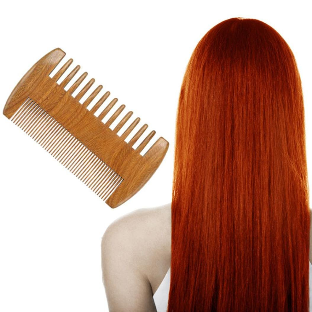 LiPing 3.8'' Sandalwood Pocket Hair Space Comb Massage comb Hair Brush With Hairdressing Thinning Trimmer Improve Hair Growth, Prevent Hair Loss Salon Straightening Brush (A)
