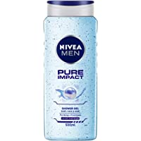 NIVEA MEN Hair, Face & Body Wash, Pure Impact Shower Gel, 500ml