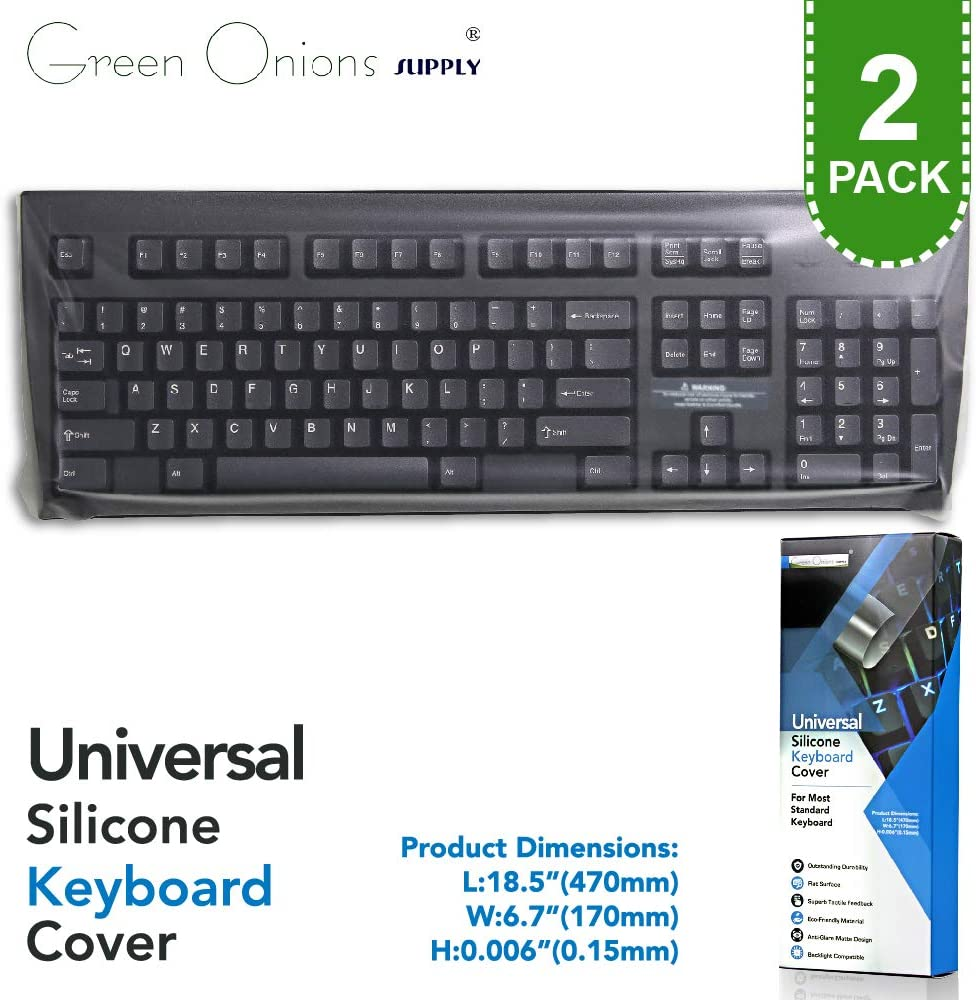 Universal Flat Easily Sanitized Durable Protective Film Matte Surface Silicone Keyboard Cover for Desktop/Pos Keyboard [2 Pack]
