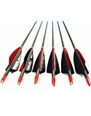 """MS Jumpper Archery Carbon Arrows, High Percentage Carbon-Fiber Arrow Spine 400 with 4"""" Real Feathers 100 Grain Points for Hunting/Targeting Compound/Recurve/Long Bow 6Pack"""