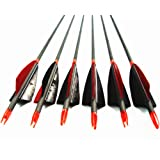 """Archery Carbon Arrows,MS Jumpper High Percentage Carbon-Fiber Arrow Spine 400 With 4"""" Real Feathers 100 Grain Points For Hunting/Targeting Compound/Recurve/Long Bow 6Pack"""