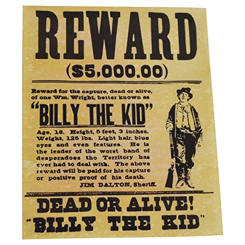 Billy the Kid Wanted Dead or Alive Gun Outlaw Poster Old West Bar Pub Wall Decor Billy The Kid Wanted Poster