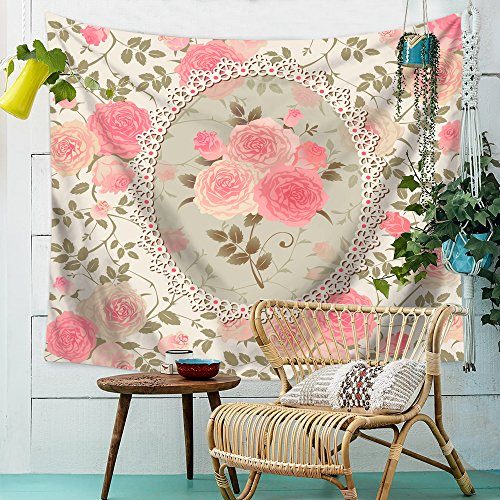 HMWR Pink Rose Floral Tapestry Wall Hanging Elephant Shabby Chic Flower Boho Wall Decor for Kids Girls Room Dorm Light-weight Polyester Picnic Bedsheet Blanket Wall Art Hippie Tapestries 60x40 Inch -