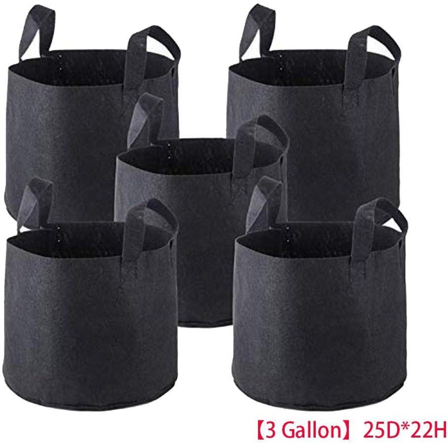 DANDANdianzi 5pcs Set Traspirante Tessuto Non Tessuto Vasi Strap Maniglie Borse Nursery Giardino Piantare Grow Planter Pouch Bag