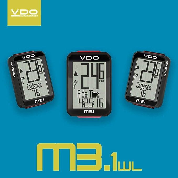 2 Buttons German Technology Splash Proof Cadence Ready Auto Start-Stop VDO M3.1 Bicycle Computer Urban /& MTB Wireless Handlebar or Stem Mount Digital Backlight Display Cycle Speedometer