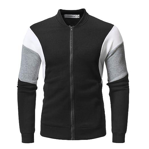 b9cbcb7922a Clearance Forthery Men s Fleece Zip Pullover Hooded Sweatshirt Jacket Coat(Black