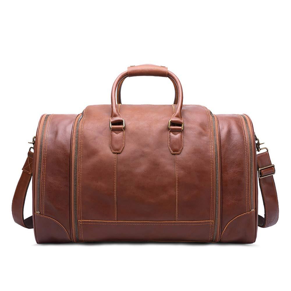 耐久性のある 大容量荷物袋ヴィンテージ本物の革のポータブルハンドバッグトラベルショルダートートバッグ (色 : 褐色) B07KF42VF2 褐色