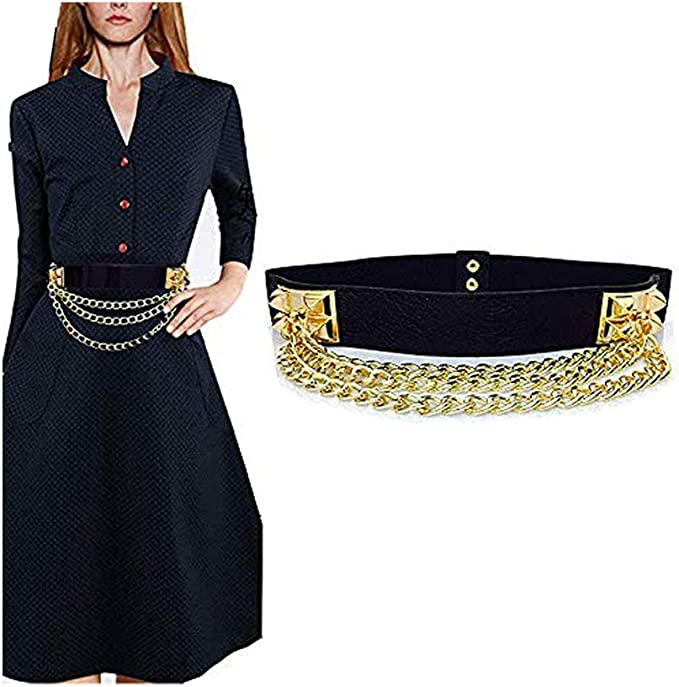 Ladies Black Elasticated Stretches Waist Belt with D Shape Shiny Buckle Dress