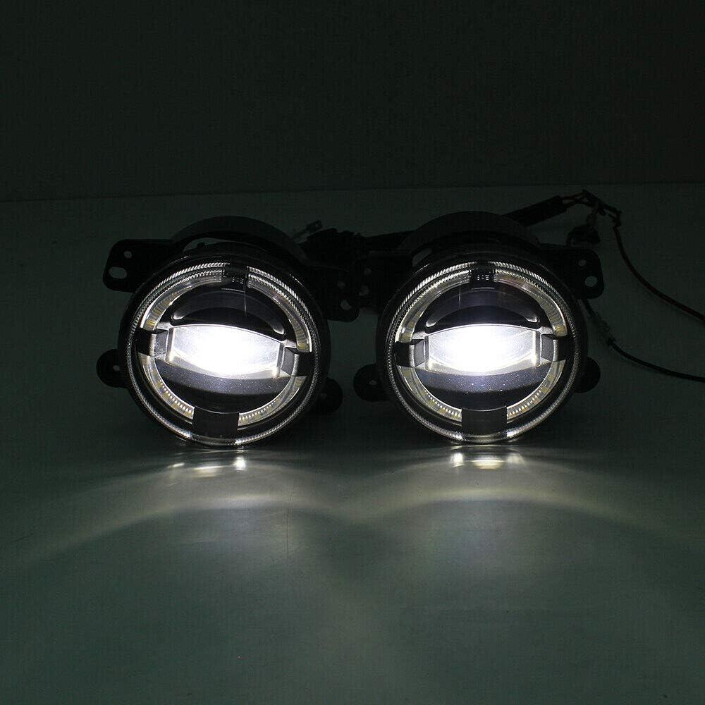 Moligh doll pour JK TJ LJ Grand Cherokee 4 Pouces Voiture Ronde LED Antibrouillard 4D Lentille de Projecteur Blanc Halo DRL Antibrouillards
