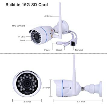 Cámaras de Vigilancia Exterior, 720P Cámara IP WIFI Exterior Impermeable IP66 Puede Grabar en Bucle