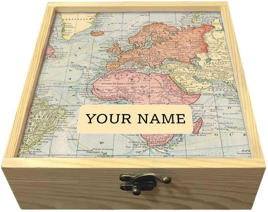 Vintage Map Nutcase Personalized Passport Holder Cover Gift Set With Matching Luggage Tag And Wooden Box Gifts Set