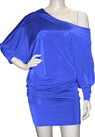 order attractive fashion top-rated real Lady Rich One Shoulder Batwing Jumper Dress {Royal Blue ...