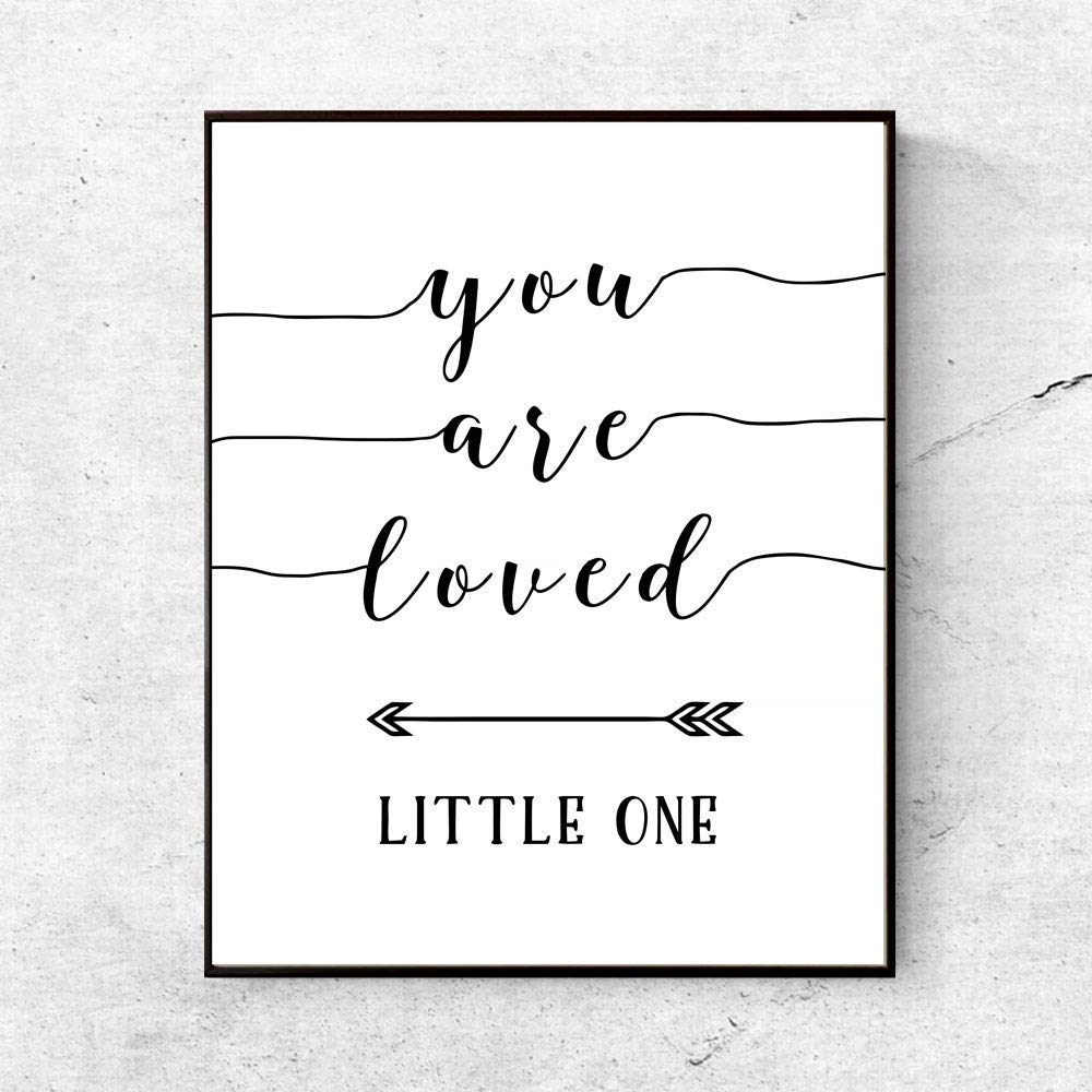 You Are Loved Little One Nursery Quotes Wall Art Art Print Kids Poster Nursery Decor Bedding Room Wall Hanging Baby New Born Gift 8x10 Inches No Frame